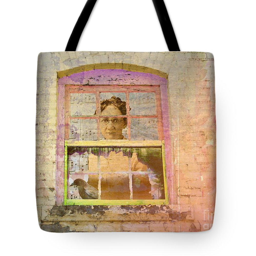 Vintage Tote Bag featuring the digital art Grandma At The Window by Desiree Paquette