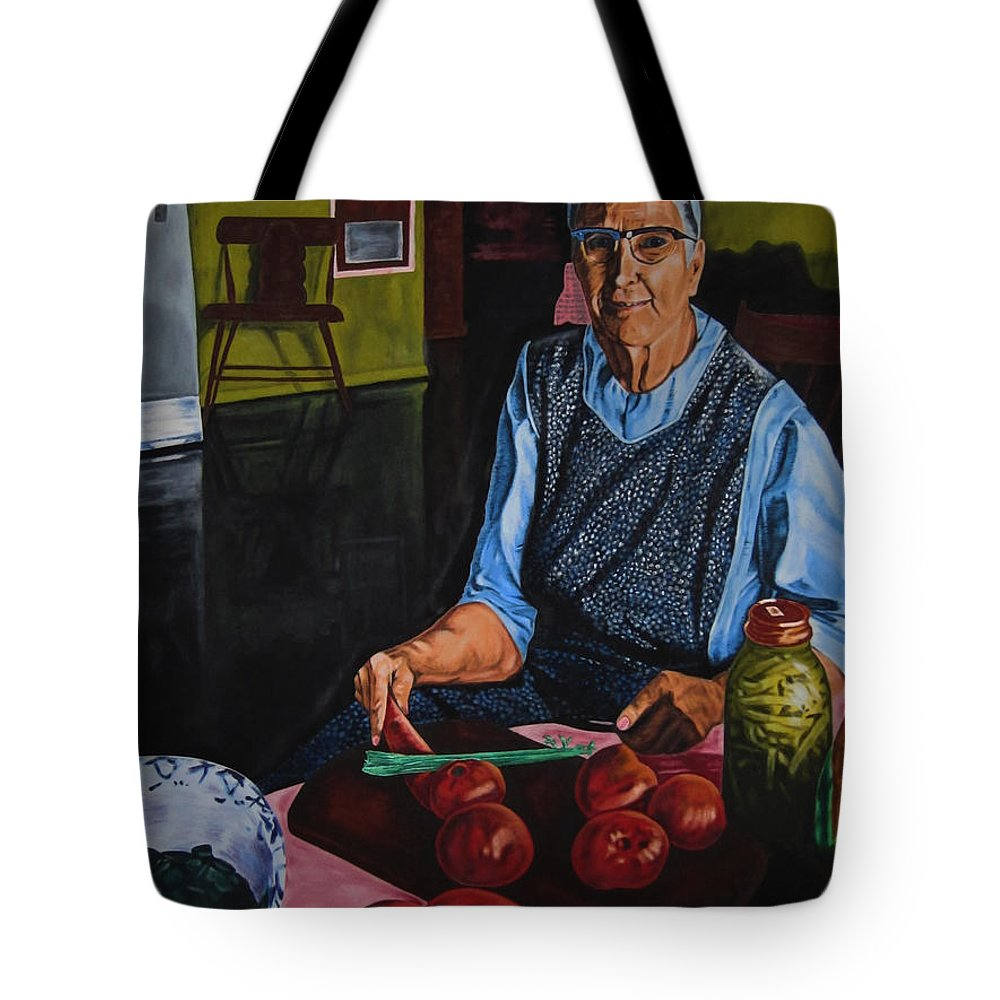Canvas Prints Tote Bag featuring the painting Grandma by Joseph Juvenal