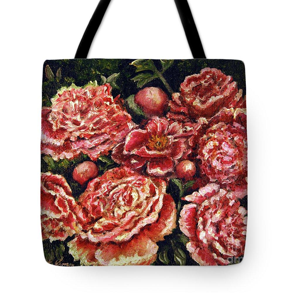 Pink Tote Bag featuring the painting Grandma Lights Peonies by Linda Simon
