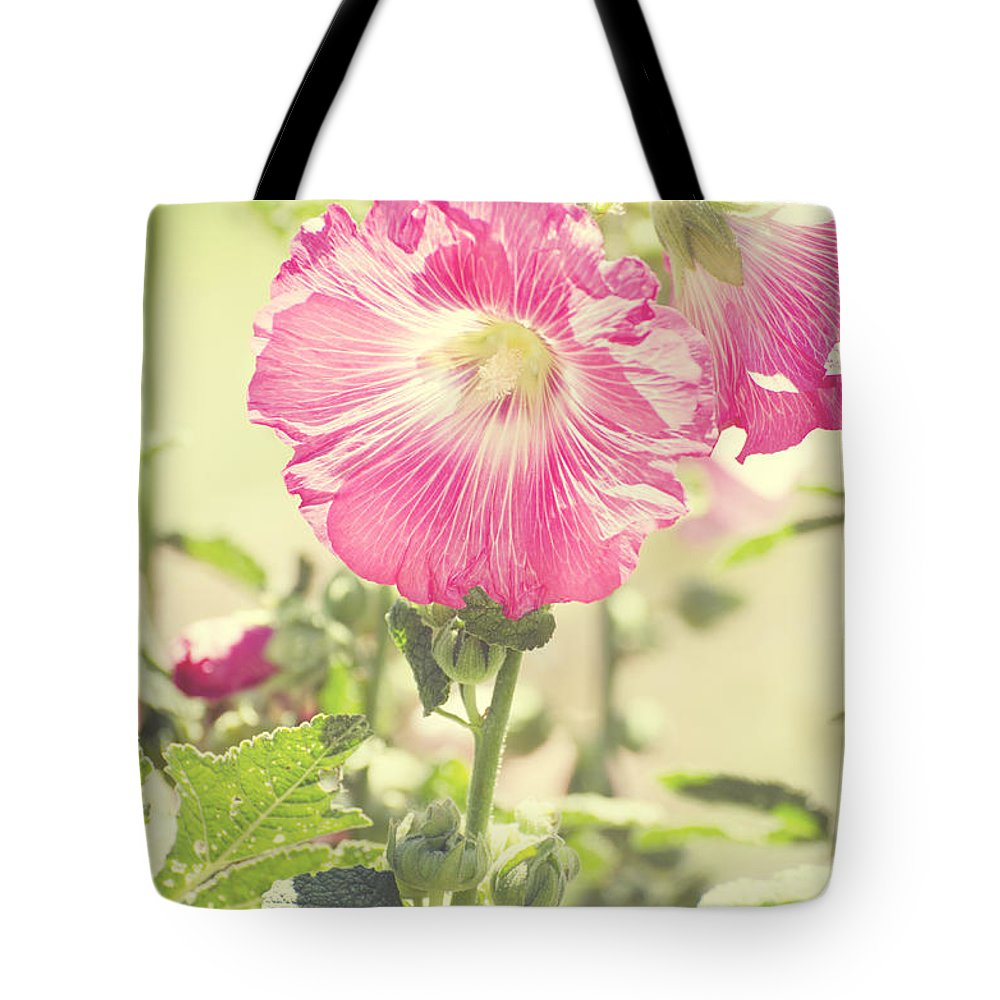 Alcea Rosea Tote Bag featuring the photograph Grandma's Hollyhocks by Jim And Emily Bush