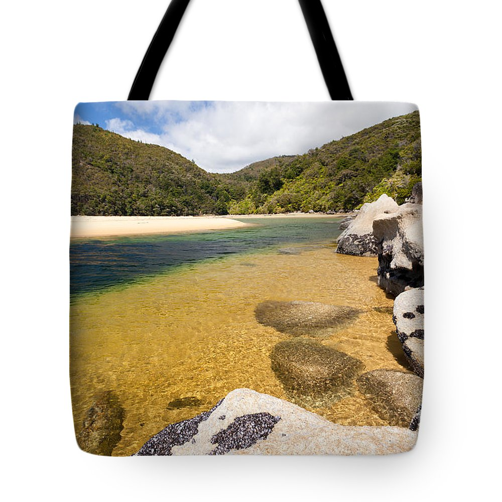 Cook Strait Tote Bag featuring the photograph Granite Boulders In Abel Tasman Np In New Zealand by Stephan Pietzko