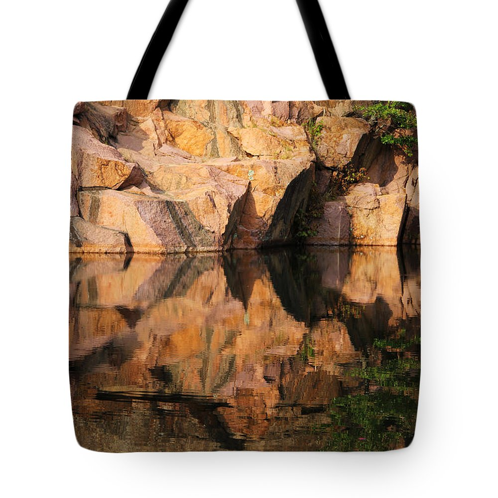 Granite Tote Bag featuring the photograph Granite Cliffs And Reflections In A Quarry Lake by Greg Matchick