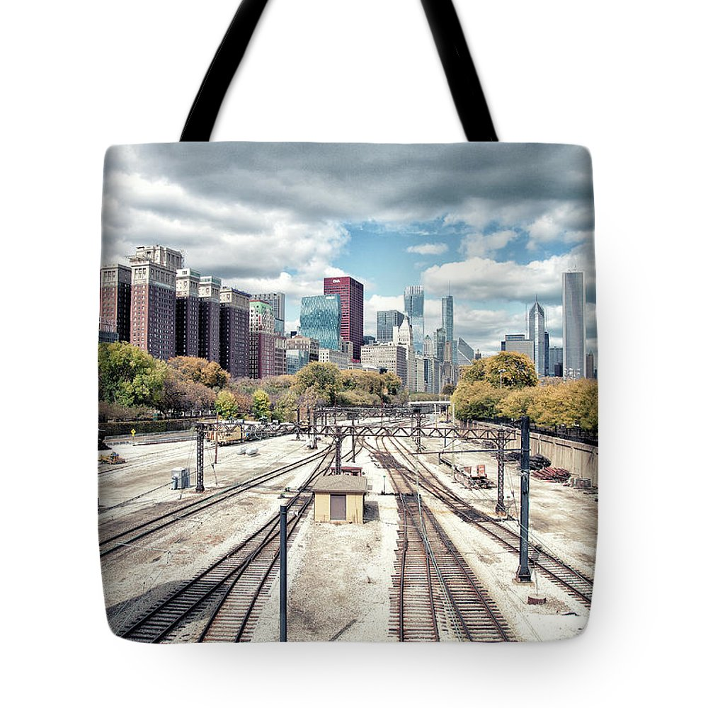 Tranquility Tote Bag featuring the photograph Grant Park Railroad Tracks by Photographer Who Enjoys Experimenting With Various Styles.