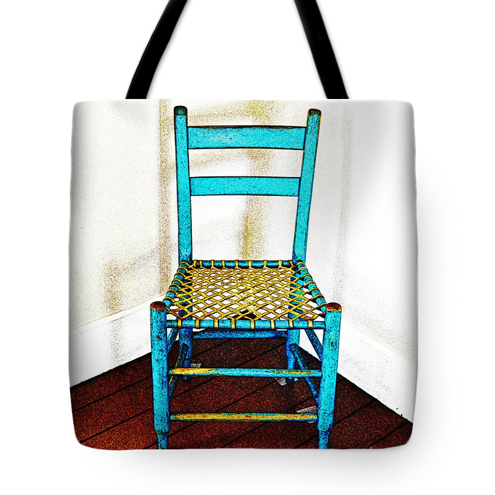 Chair Tote Bag featuring the photograph Granular Blue by Holly Blunkall