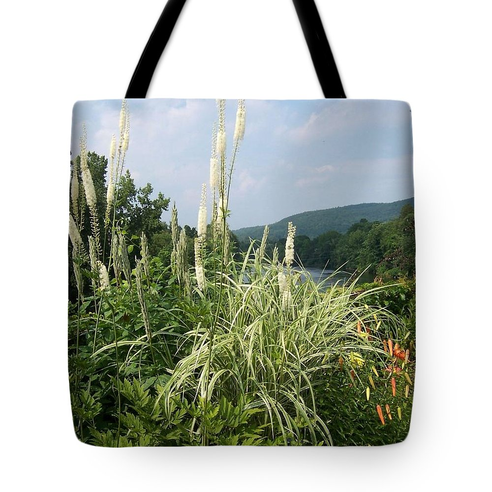 Grasses Tote Bag featuring the photograph Garden Over A River by Catherine Gagne