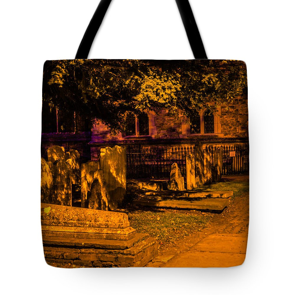 Graveyard Tote Bag featuring the photograph Graveyard At Night by Dawn OConnor