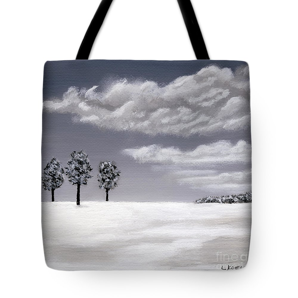 Landscape Tote Bag featuring the painting Gray Day by Linda Koelbel