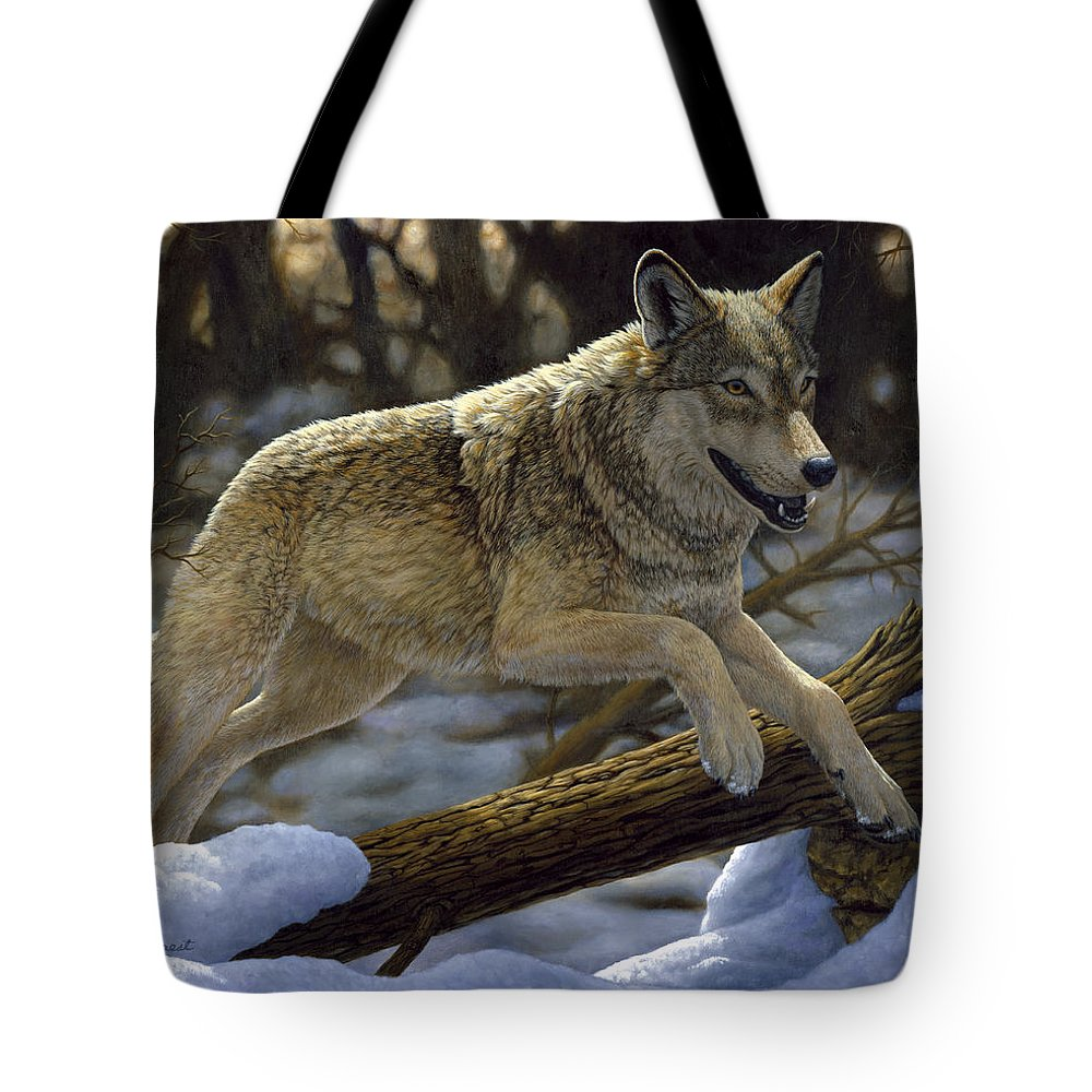 Wolf Tote Bag featuring the painting Gray Wolf - Just For Fun by Crista Forest