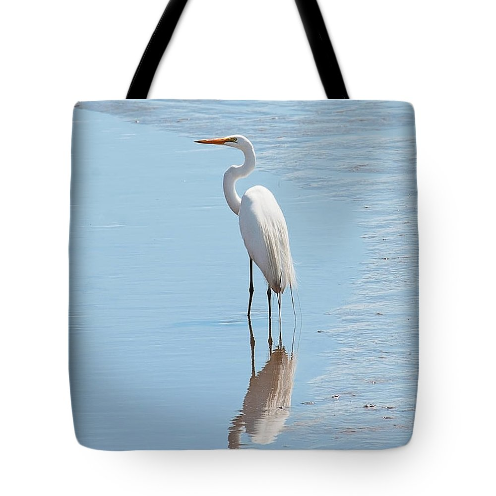 Great Egret Tote Bag featuring the photograph Great Egret And Reflection by Regina Geoghan