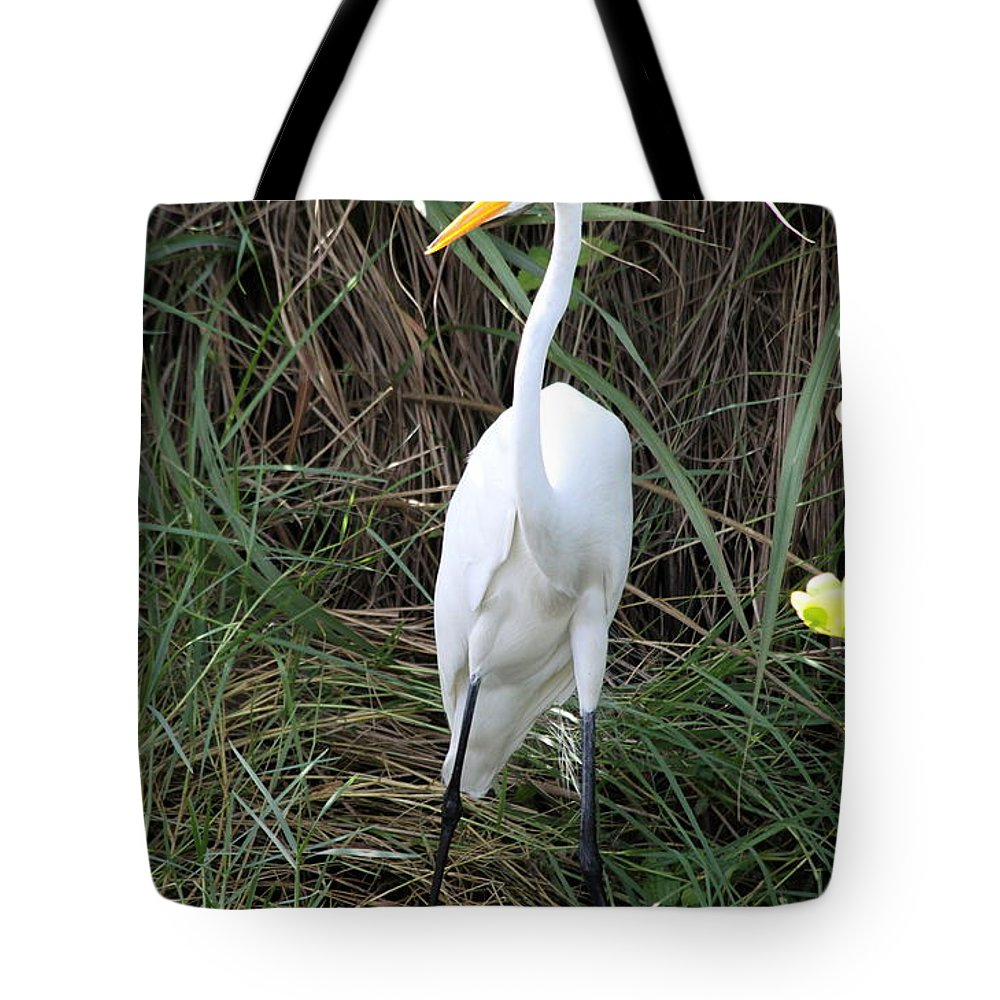 White Egret Tote Bag featuring the photograph Great Egret In The Green by Christiane Schulze Art And Photography
