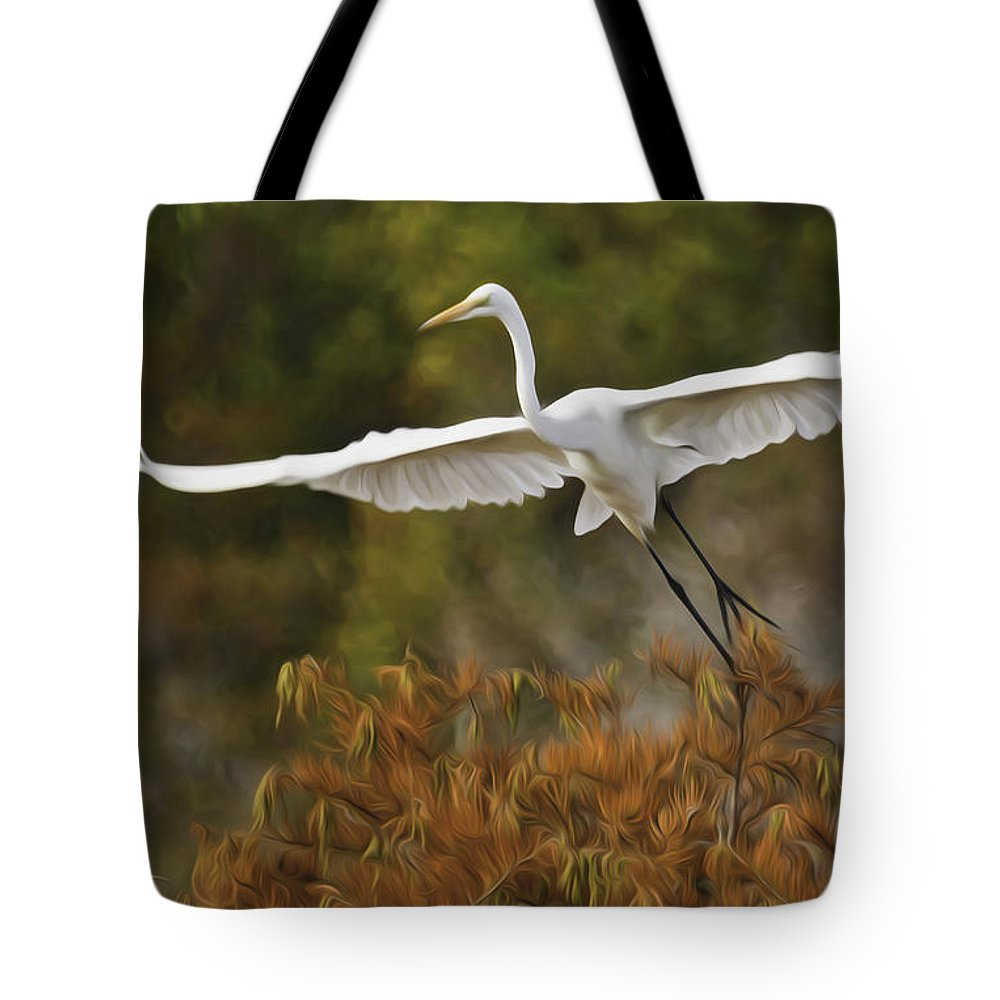 Pixel Bender Tote Bag featuring the photograph Great Egret Pixelated by James Ekstrom