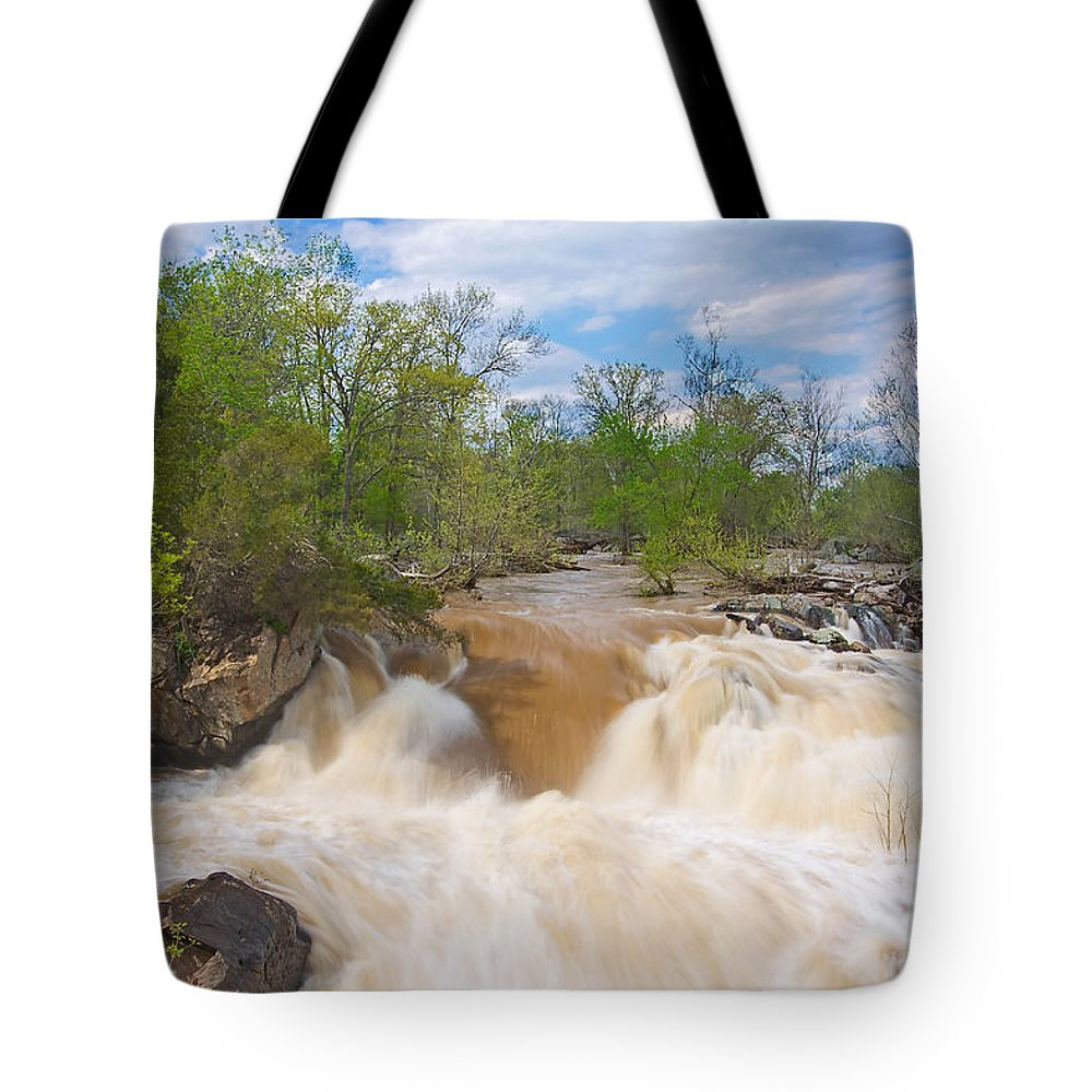 Great Falls Tote Bag featuring the photograph Great Falls White Water #5 by Stuart Litoff