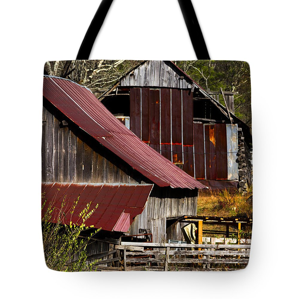 American Tote Bag featuring the photograph Great Grandpa's Place by Debra and Dave Vanderlaan