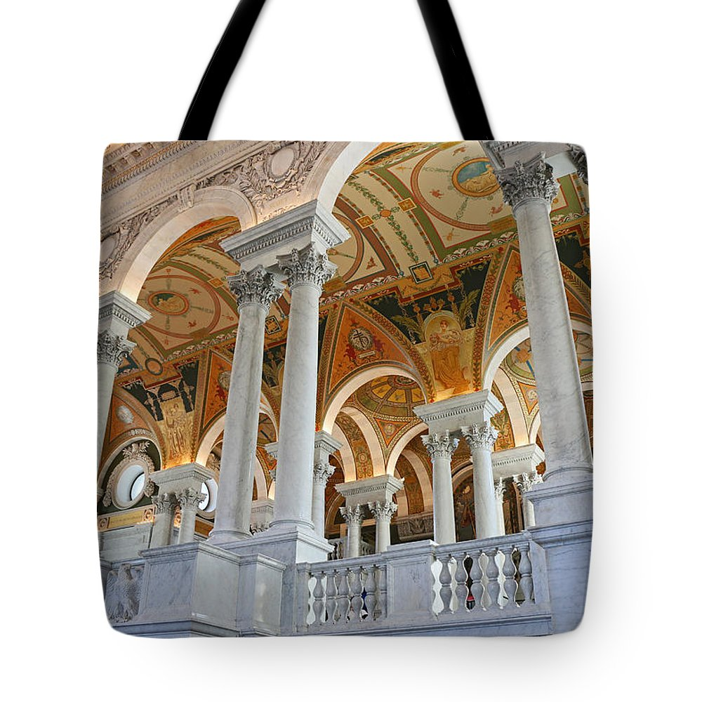 Interior Tote Bag featuring the photograph Great Hall Of The Library Of Congress by Allen Beatty