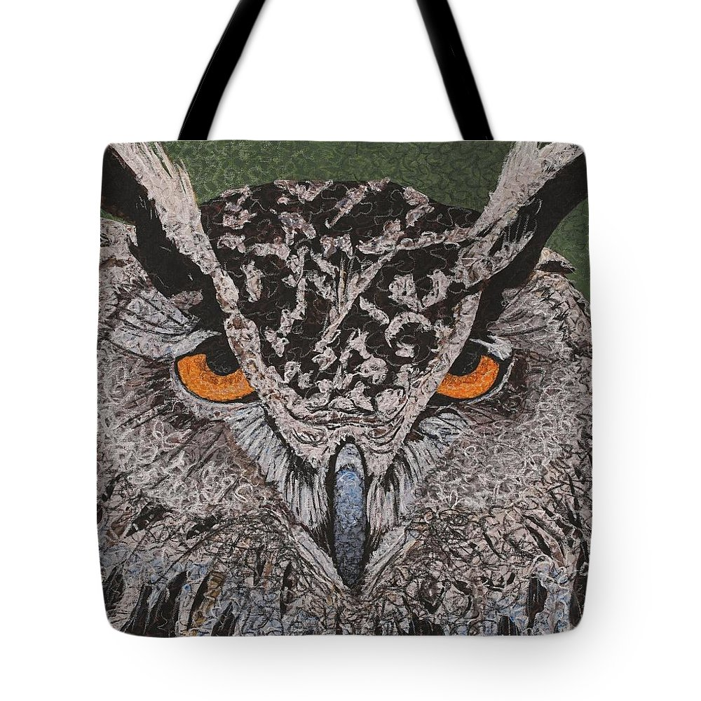 Wildlife Tote Bag featuring the painting Great Horned Owl by C Ryan Pierce