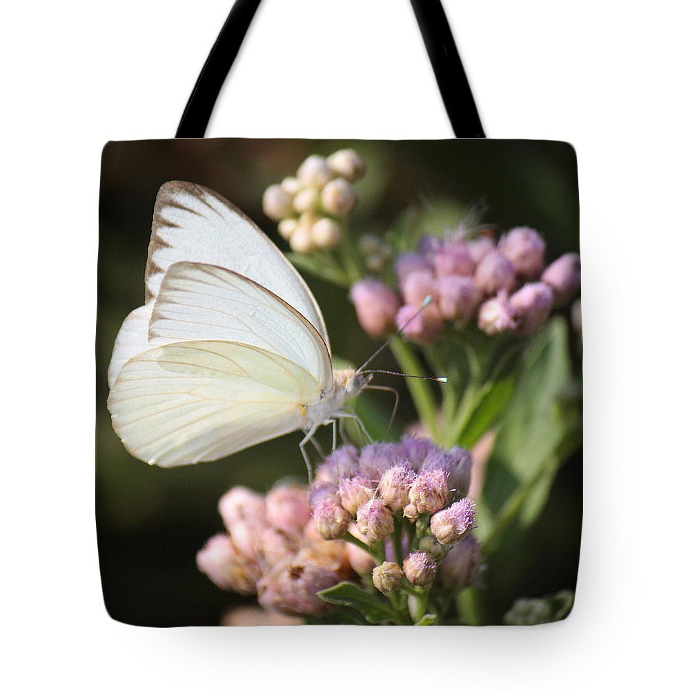 Roena King Tote Bag featuring the photograph Great Southern White Butterfly On Pink Flowers by Roena King