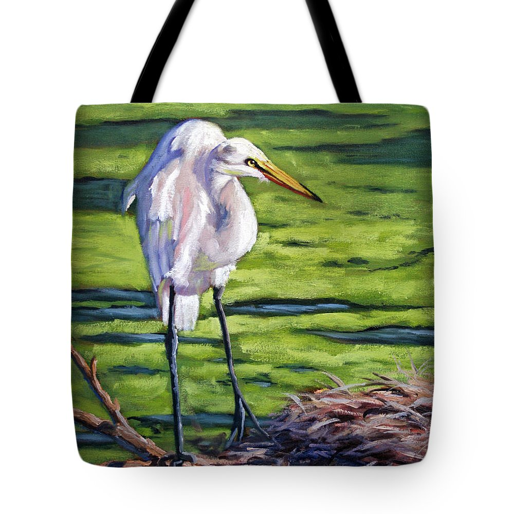 White Tote Bag featuring the painting Great White Egret by CB Hume