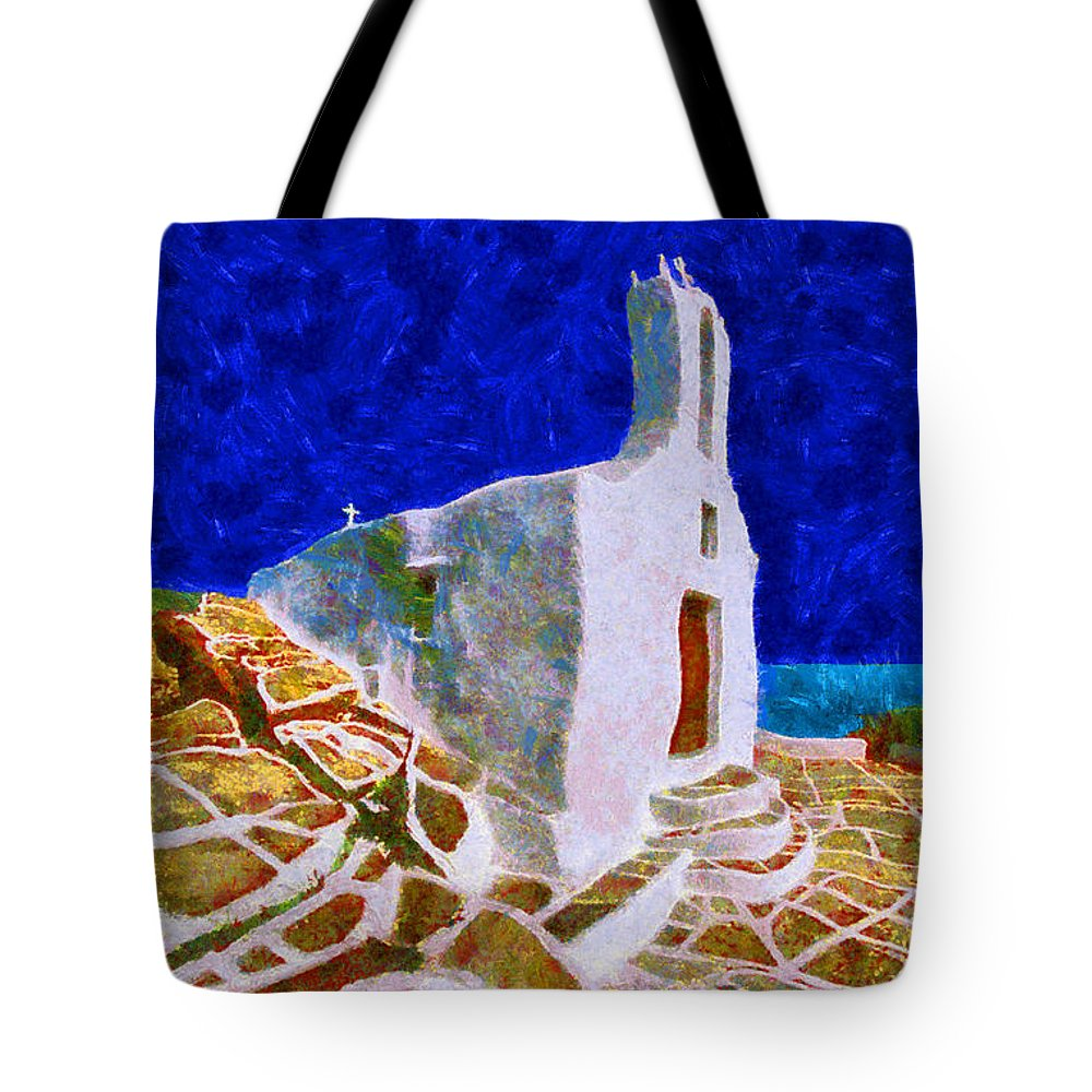 Rossidis Tote Bag featuring the painting Greek Church 5 by George Rossidis