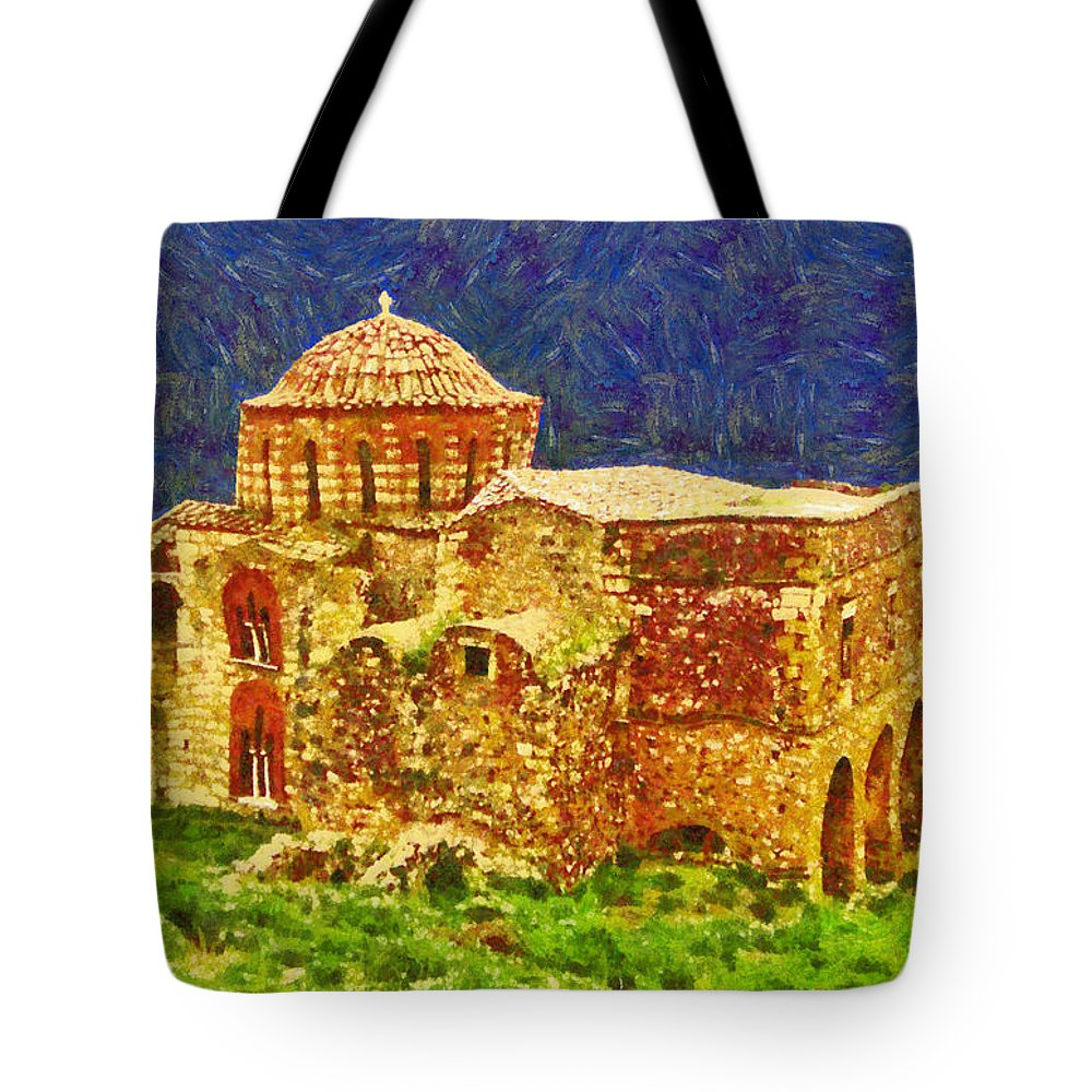 Rossidis Tote Bag featuring the painting Greek Church 6 by George Rossidis