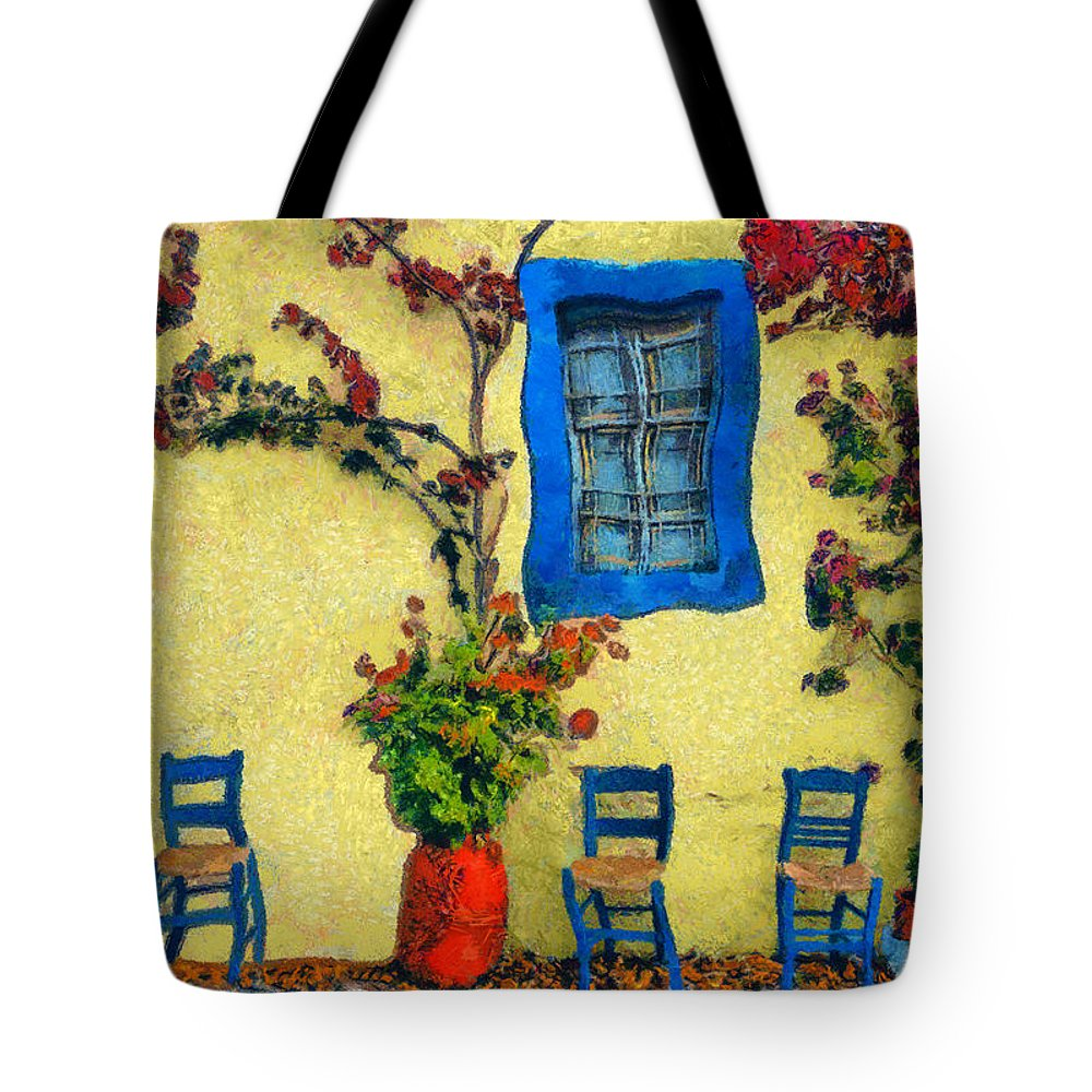Rossidis Tote Bag featuring the painting Greek Corner 1 by George Rossidis