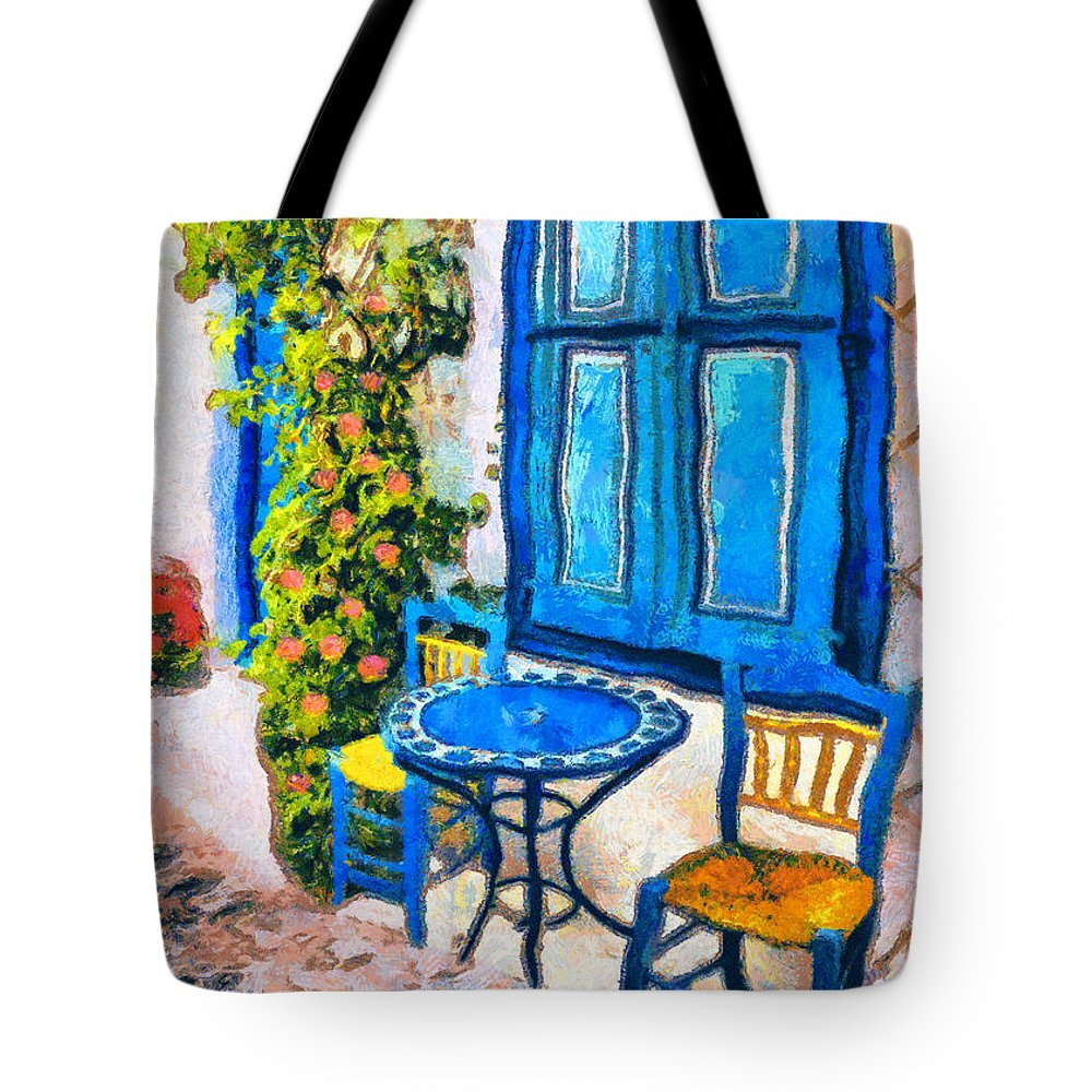 Rossidis Tote Bag featuring the painting Greek Corner 2 by George Rossidis