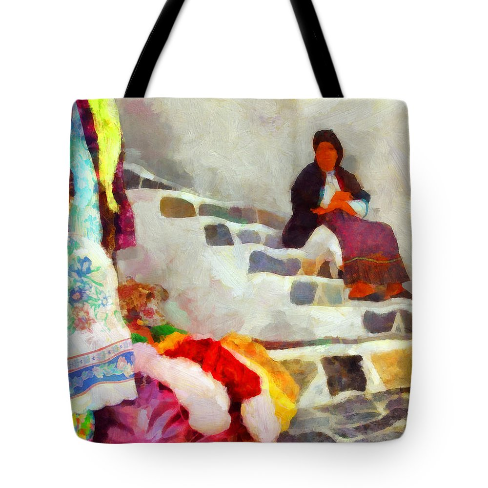 Greek Handicrafts I Tote Bag featuring the painting Greek Handicrafts I by George Rossidis