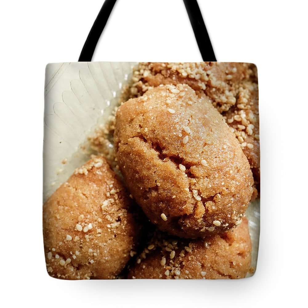 Greek Culture Tote Bag featuring the photograph Greek Melomakarona Christmas Biscuits by Steve Outram