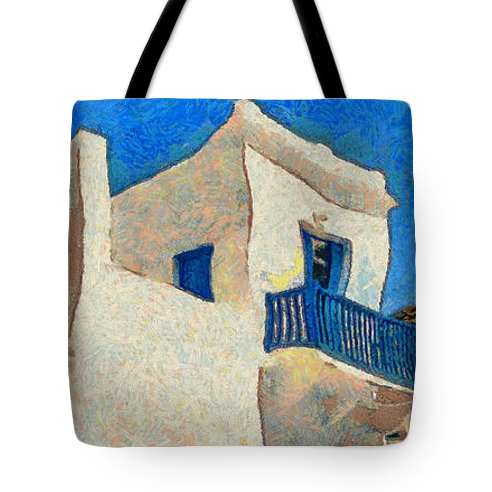 Rossidis Tote Bag featuring the painting Greek Village 27 by George Rossidis
