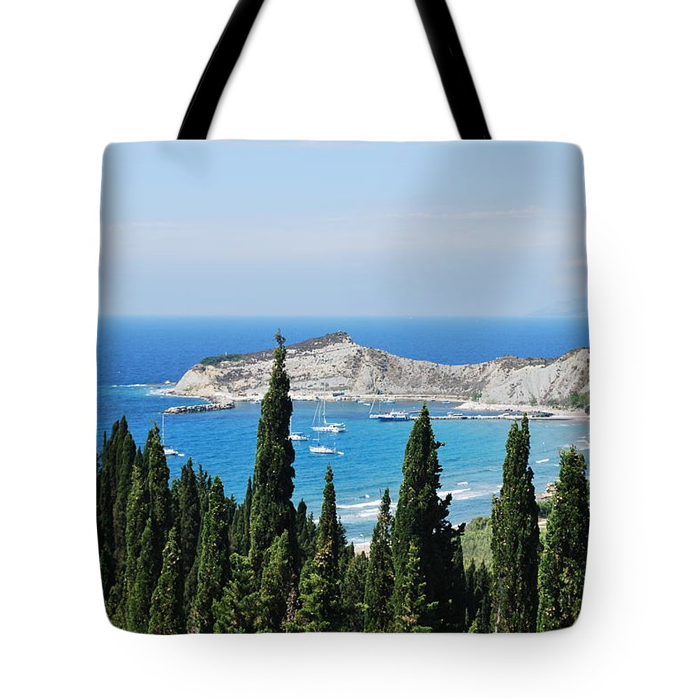Seascape Tote Bag featuring the photograph Green And Blue 1 by George Katechis