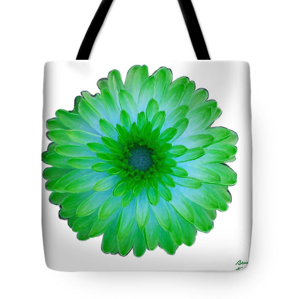 Blue Tote Bag featuring the painting Green And Blue Dahlia by Bruce Nutting