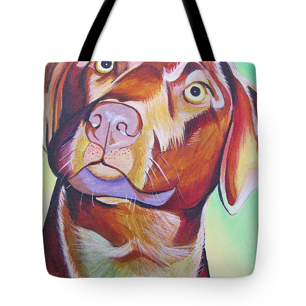 Dog Portraits Tote Bag featuring the painting Green And Brown Dog by Joshua Morton