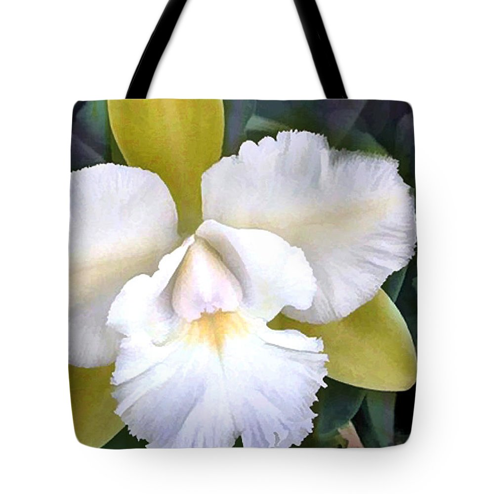 Orchid Tote Bag featuring the painting Green And White Cattleya Orchid by Elaine Plesser