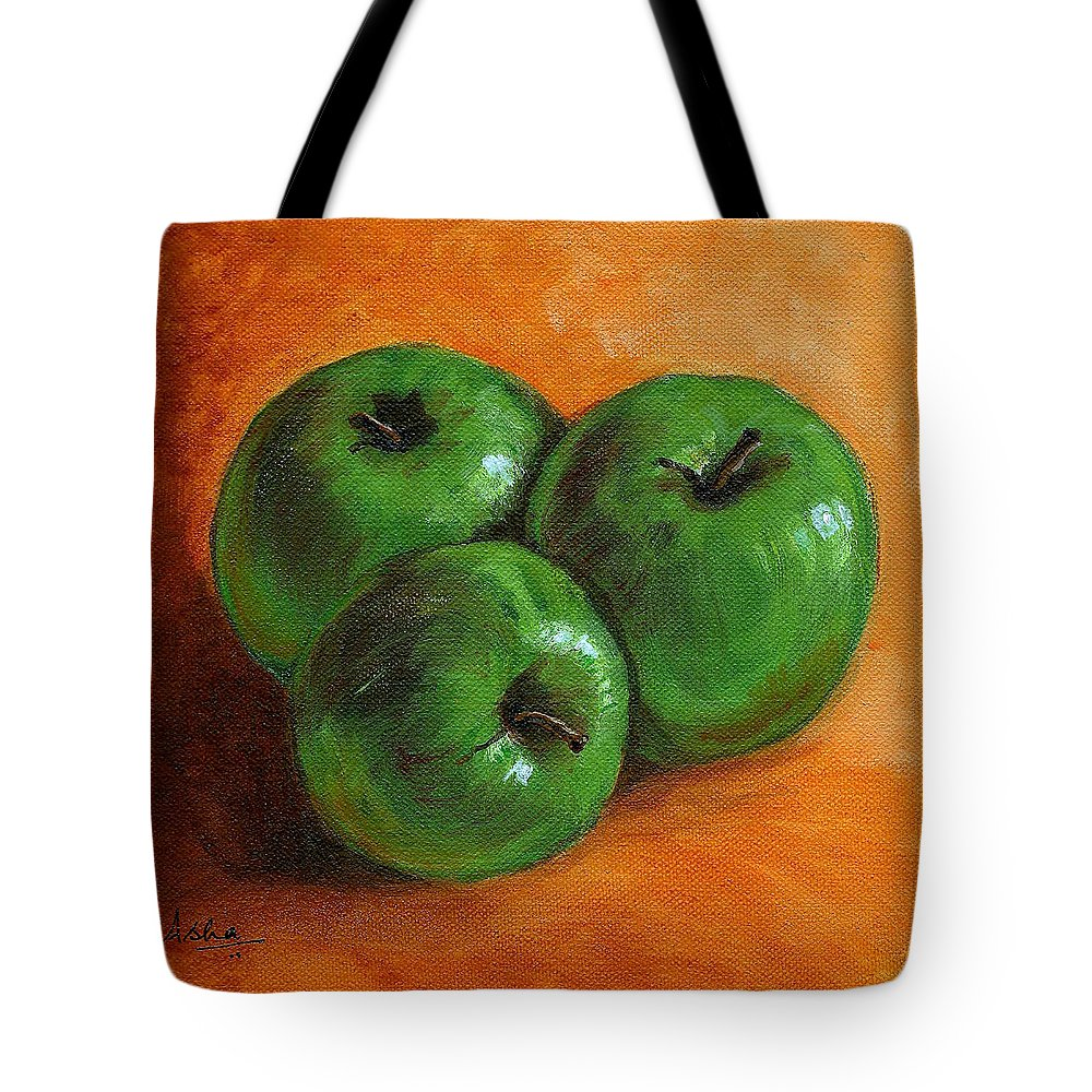 Apples Tote Bag featuring the painting Green Apples by Asha Sudhaker Shenoy