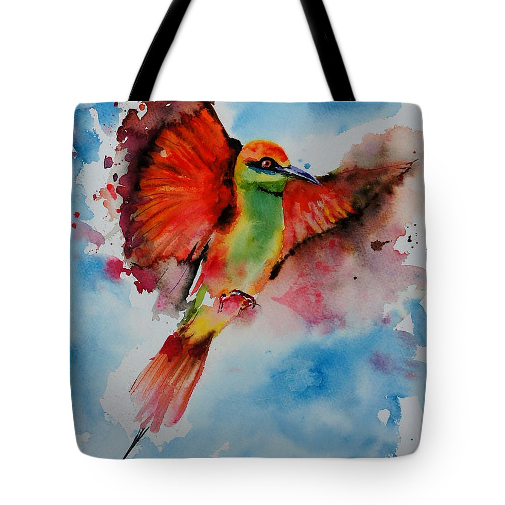 Painting Tote Bag featuring the painting Green Bee Eater by Isabel Salvador