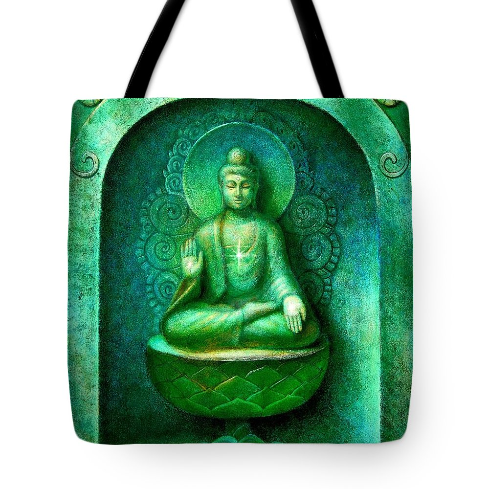 Buddha Tote Bag featuring the painting Green Buddha by Sue Halstenberg