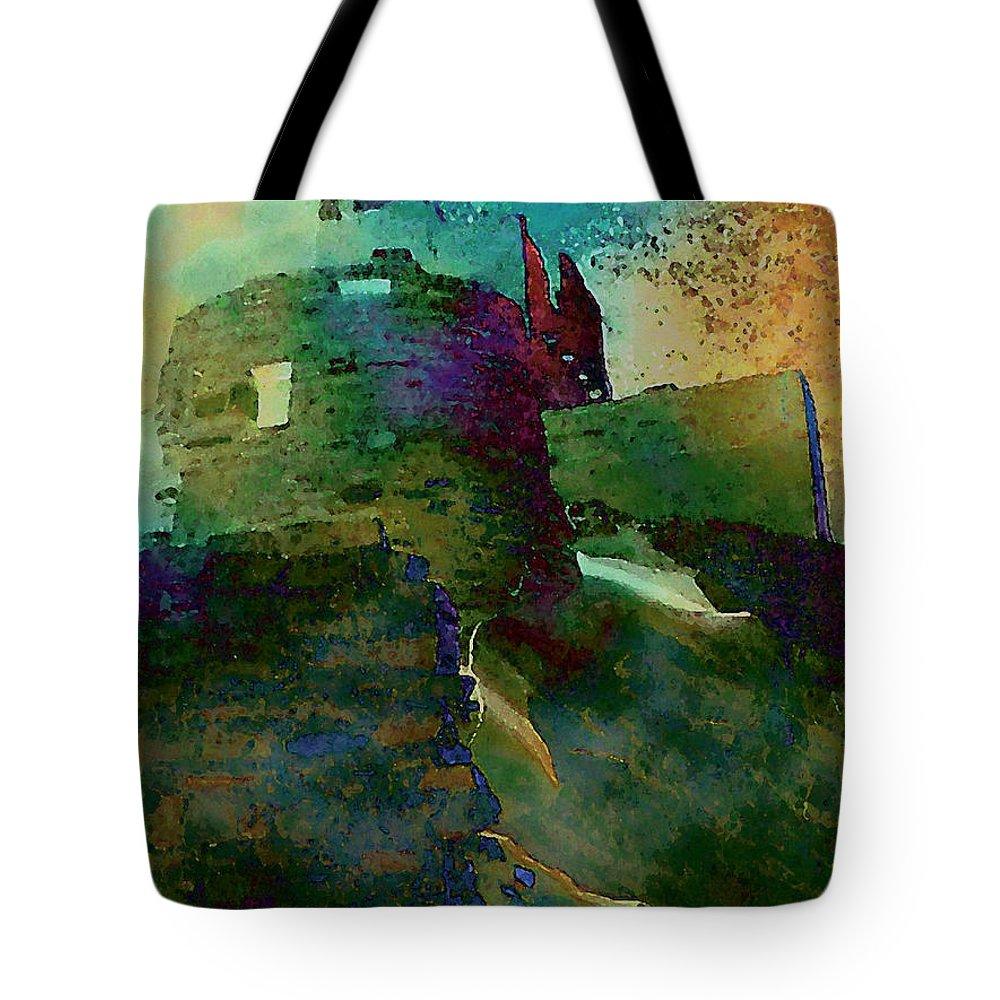 Digital Tote Bag featuring the digital art Green Castle by David Hansen