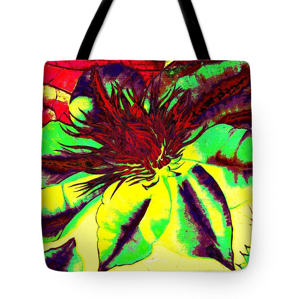 Color Tote Bag featuring the digital art Green Clematis Flower by Laura Wilson