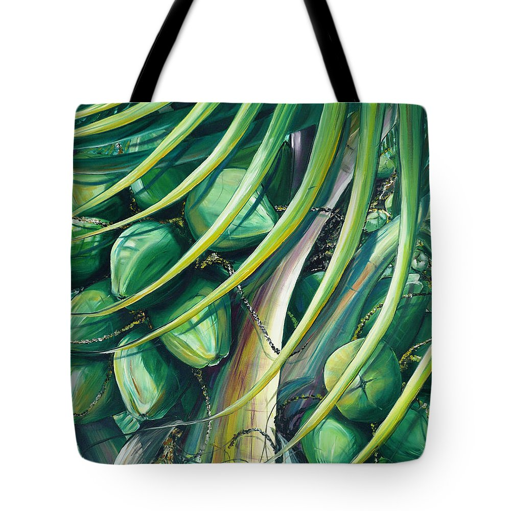 Coconut Painting Caribbean Painting Coconuts Caribbean Tropical Painting Palm Tree Painting  Green Botanical Painting Green Painting Tote Bag featuring the painting Green Coconuts 2 by Karin Dawn Kelshall- Best