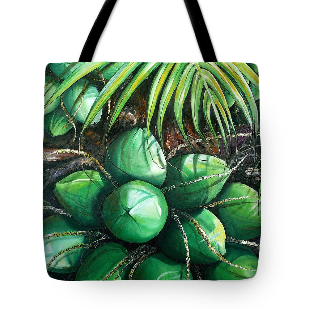 Tropical Painting Caribbean Painting Green Painting Palm Tree Painting Greeting Card Painting Botanical Painting Tree Painting Tote Bag featuring the painting Green Coconuts 3 Sold by Karin Dawn Kelshall- Best