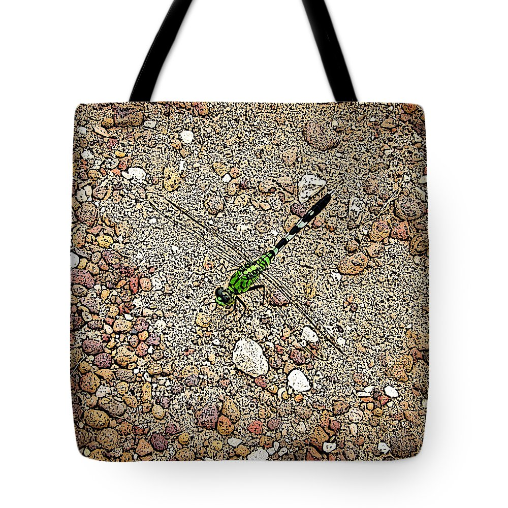 Green Dragonfly Photograph Canvas Print Tote Bag featuring the photograph Green Dragon by Lucy VanSwearingen