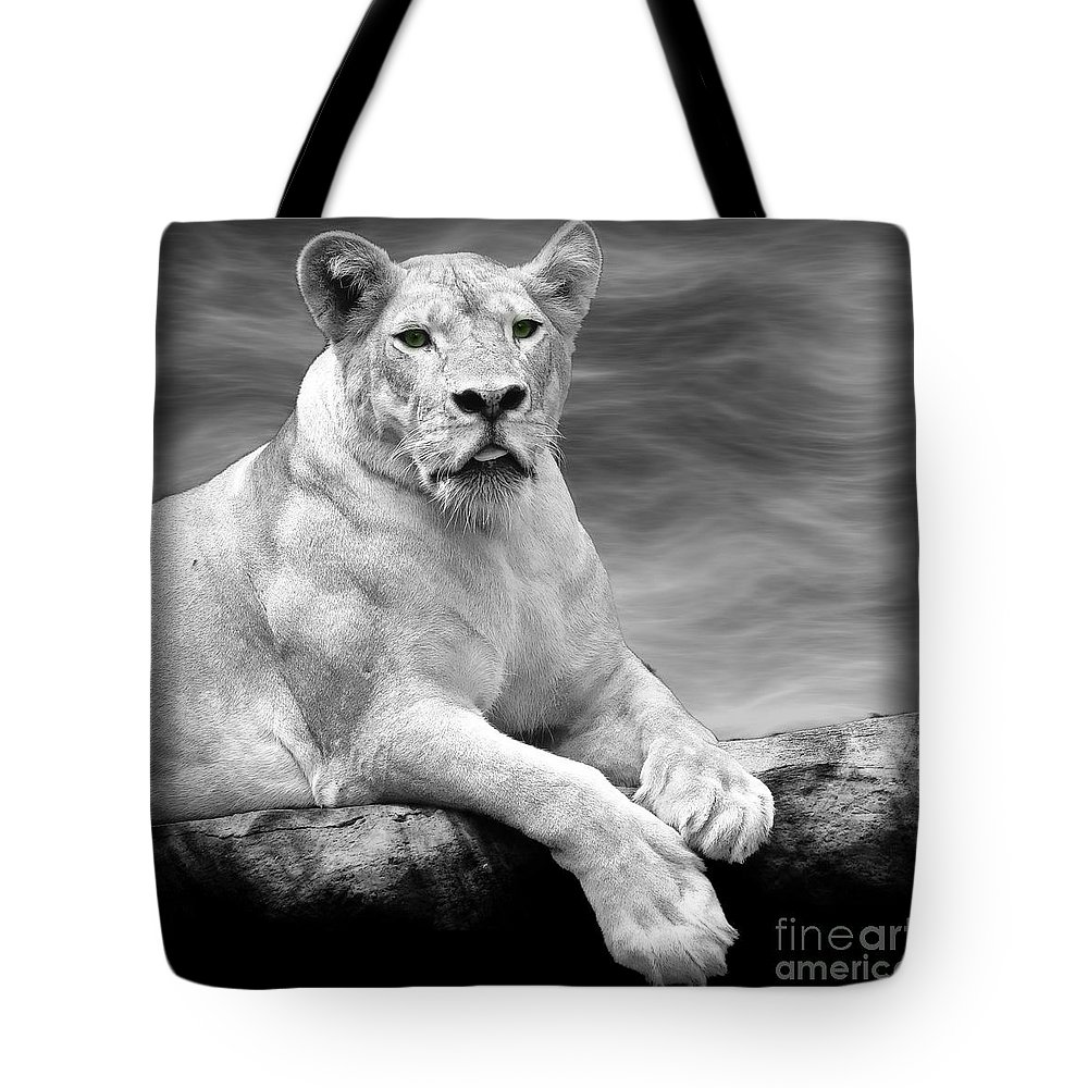 Lioness Tote Bag featuring the photograph Green Eyes by Ben Yassa