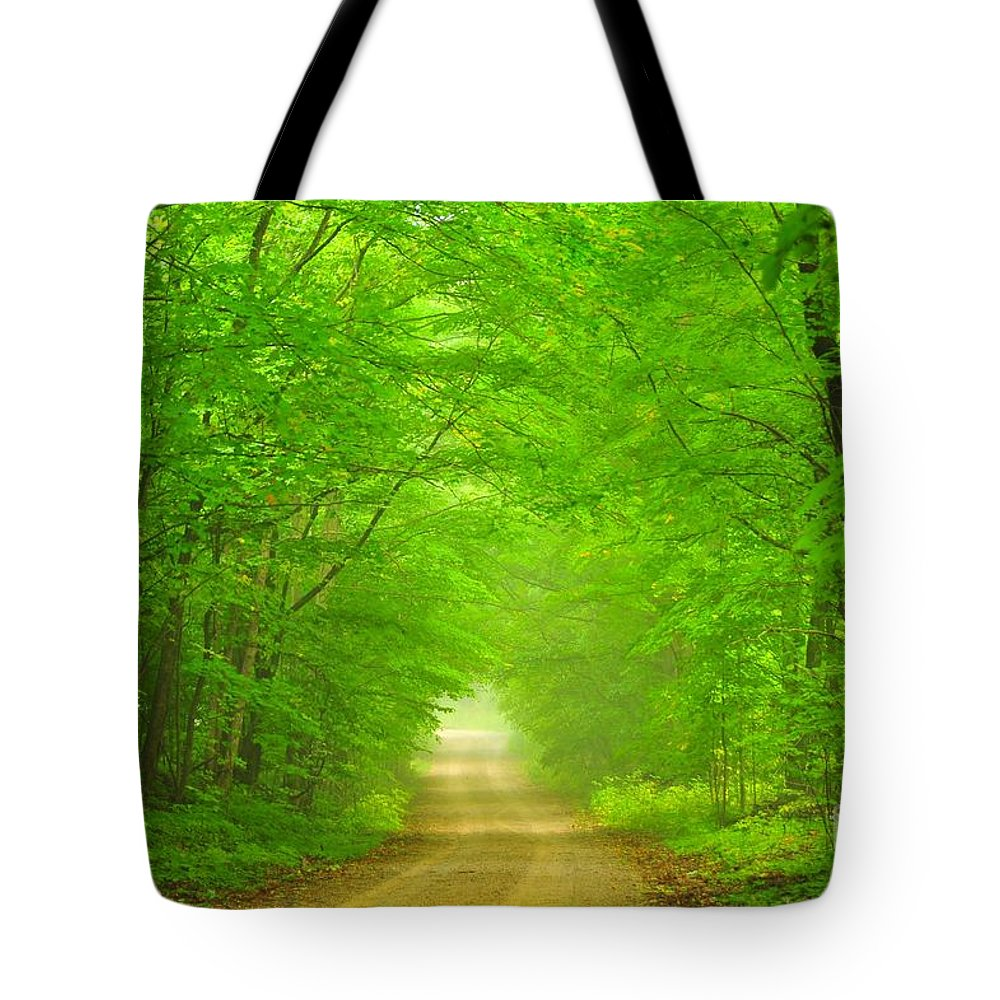 Green Tote Bag featuring the photograph Green Forest Tunnel by Terri Gostola