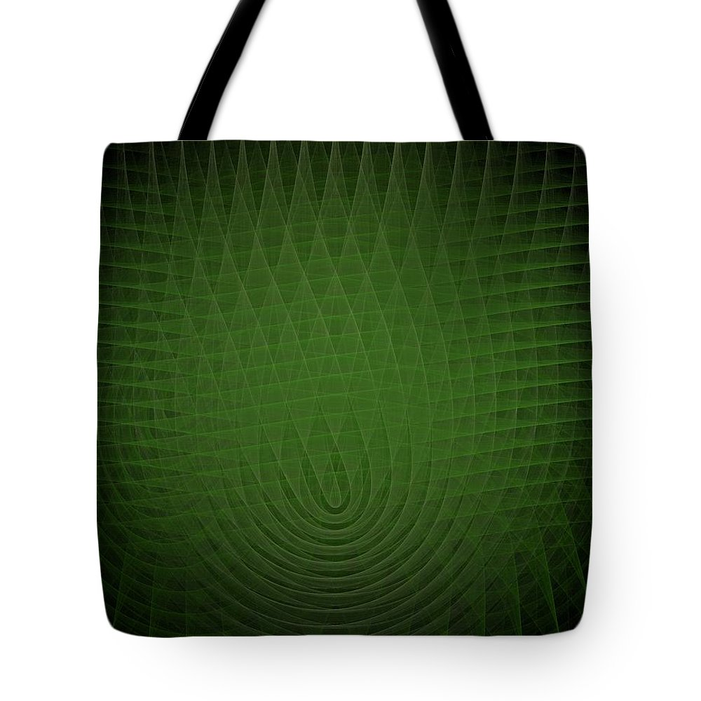 Green Tote Bag featuring the painting Green Fractal Background by Bruce Nutting