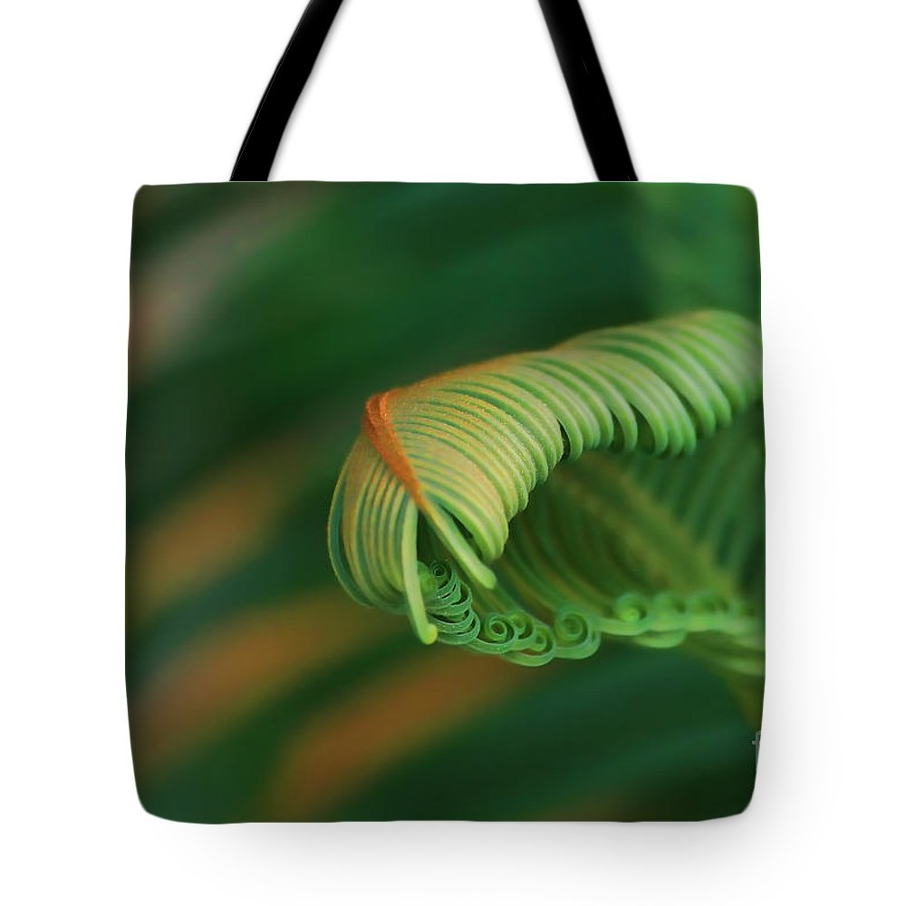 Abstract Tote Bag featuring the photograph Green Frond Abstract by Teresa Zieba