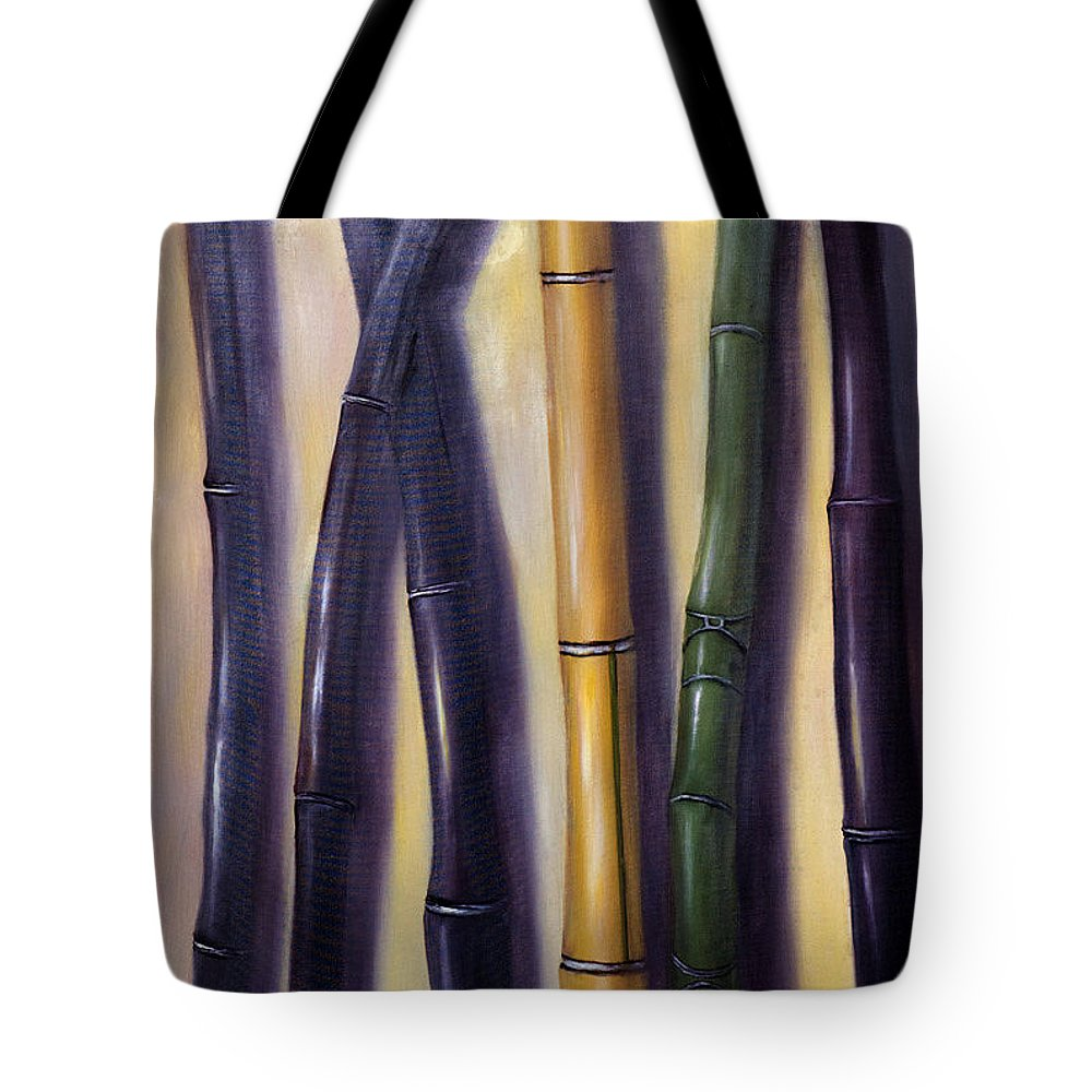 Bamboo Tote Bag featuring the painting Green Gold And Black Bamboo by Randy Burns