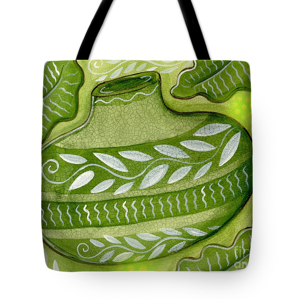 Leaves Tote Bag featuring the mixed media Green Gourd by Elaine Jackson
