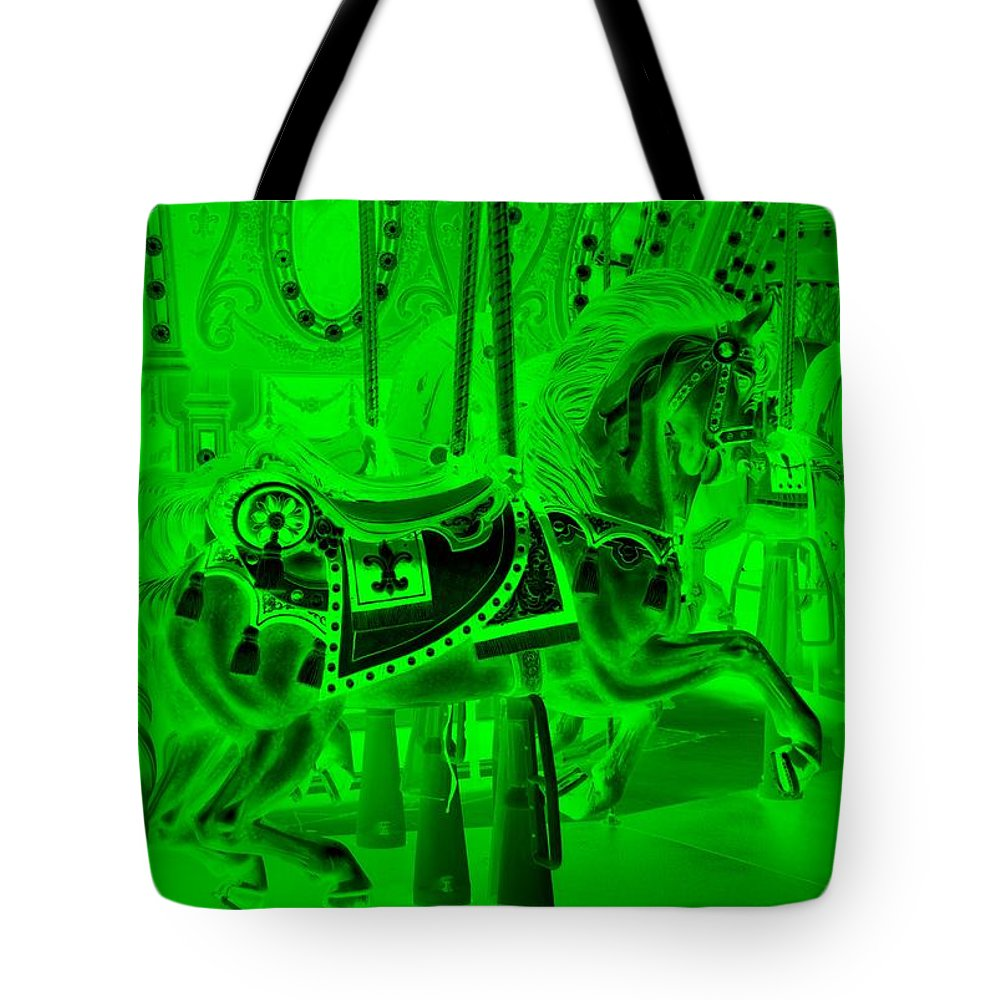 Carousel Tote Bag featuring the photograph Green Horse by Rob Hans