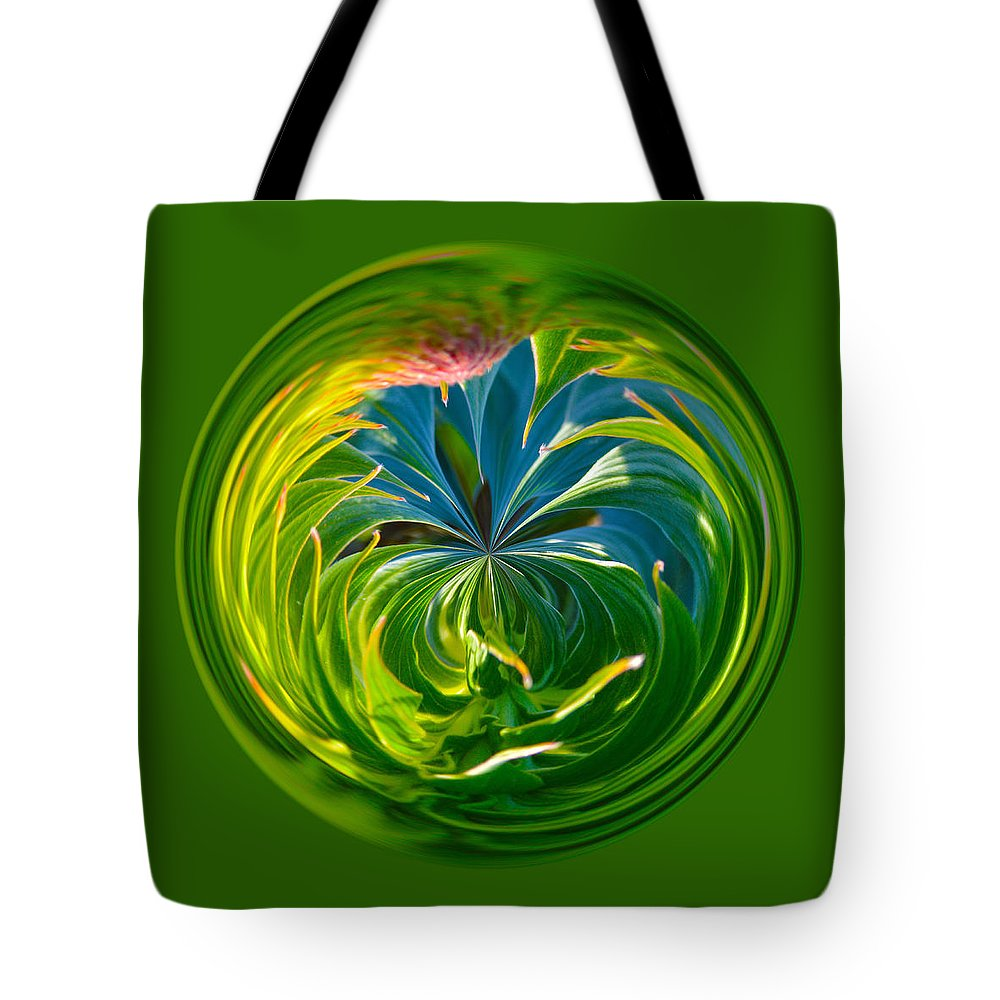 Orb Tote Bag featuring the photograph Green Leaf Orb by Brent Dolliver