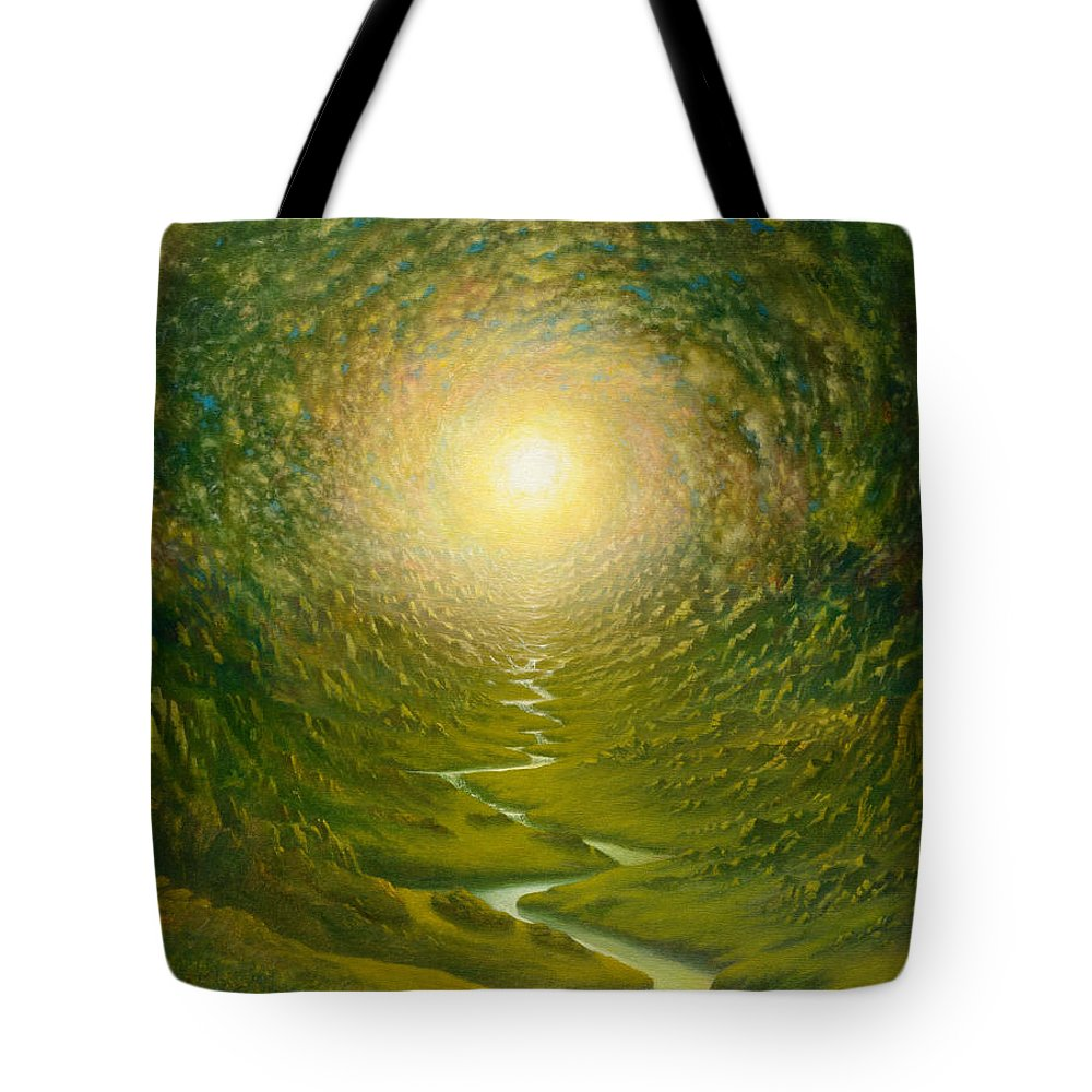Sun Tote Bag featuring the painting Green Light by Karma Moffett