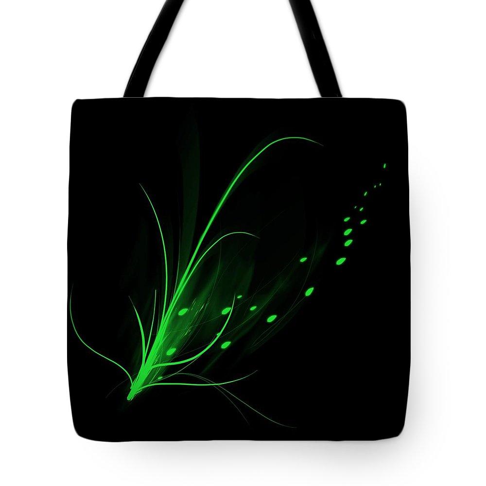 Lotus Tote Bag featuring the digital art Green Lotus by Davandra Cribbie